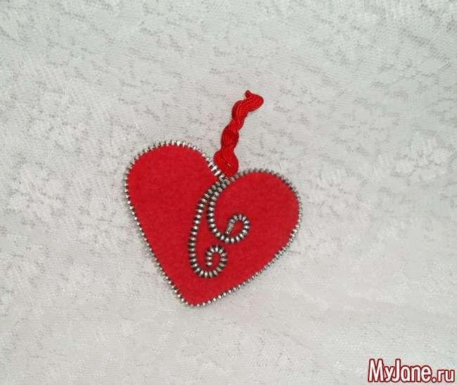 Сердечко з фетру (тканини) і замку-блискавки